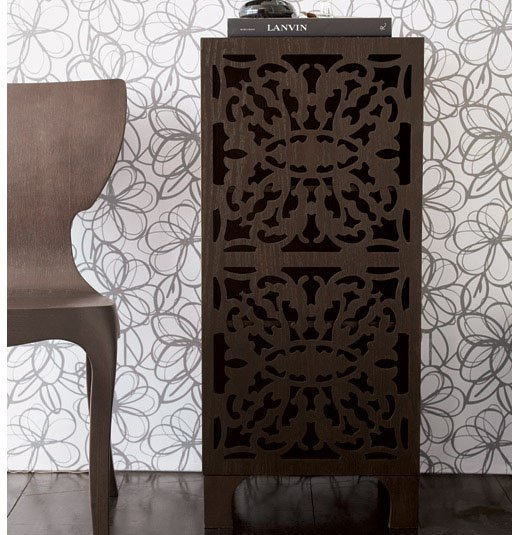 Lace Cut Bath Cabinet - Coffee
