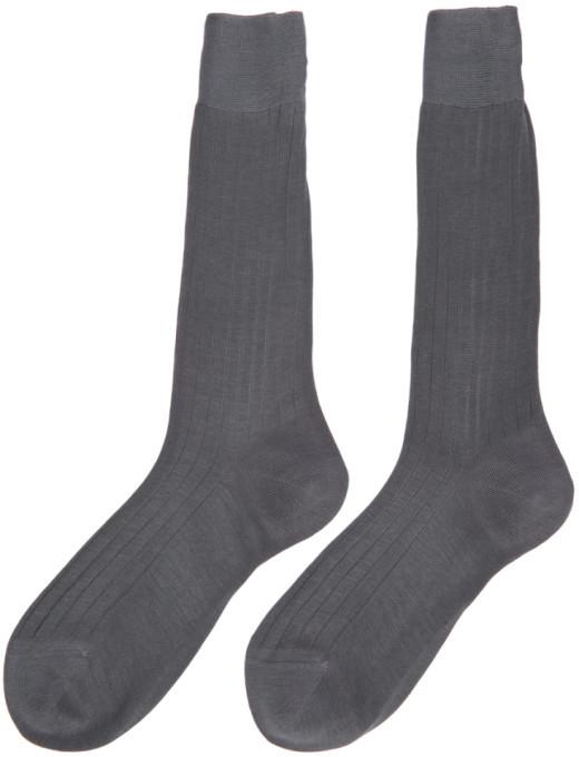 Thom Browne Grey Ribbed Socks 3