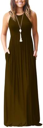 Miatty Women's Round Neck Slim Sleeveless Pleated High Waist Casual Maxi Dress XL