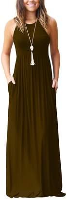 Miatty Women's Summer Casual Solid Racerback Sleeveless Tunic Maxi Dress XXL