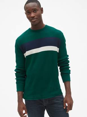 Gap Long Sleeve Stripe Classic T-Shirt in Waffle Knit