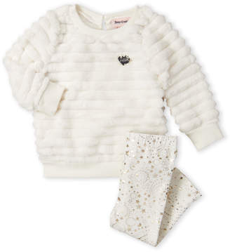 Juicy Couture Infant Girls) Two-Piece Faux Fur Pullover & Star Leggings Set