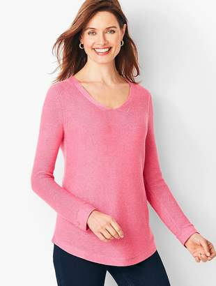 Talbots Link-Stitch V-Neck Sweater