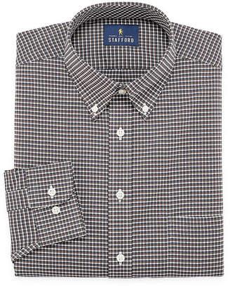 STAFFORD Stafford Travel Stretch Wrinkle Free Big And Tall Long Sleeve Oxford Gingham Dress Shirt