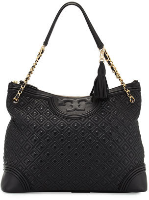 Tory Burch Fleming Quilted Leather Tote Bag, Black $595 thestylecure.com