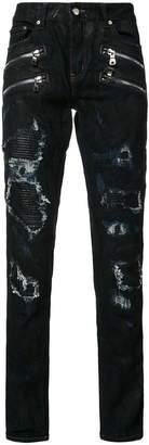 God's Masterful Children shredded trim slim-fit jeans