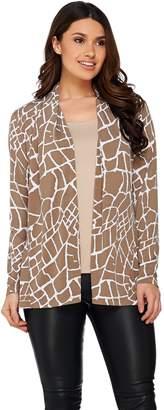 Susan Graver Printed Liquid Knit Long Sleeve Open Front Cardigan