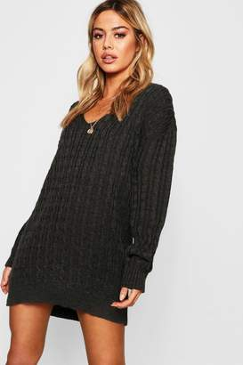 boohoo Petite Cable Knit V Neck Jumper Dress