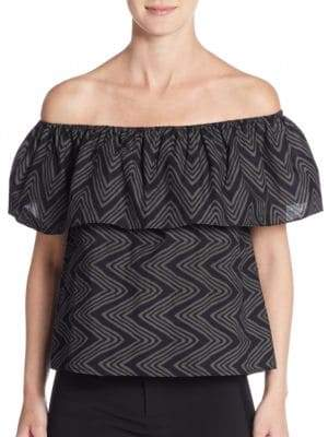 Rebecca Minkoff Dev Printed Off-The-Shoulder Cotton Top