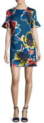 Trina Turk Short-Sleeve Floral Stretch Crepe Shift Dress, Midnight $298 thestylecure.com