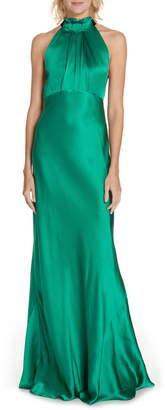 Saloni Michelle Velvet Bow Silk Halter Gown