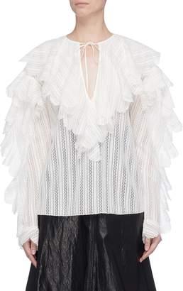 Philosophy di Lorenzo Serafini Tie keyhole front scalloped ruffle blouse