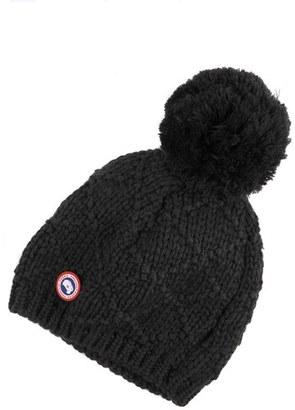 Women's Canada Goose Pom Merino Wool Beanie - Black $75 thestylecure.com