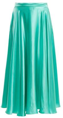 Gucci Crinkled Silk Blend Skirt - Womens - Green