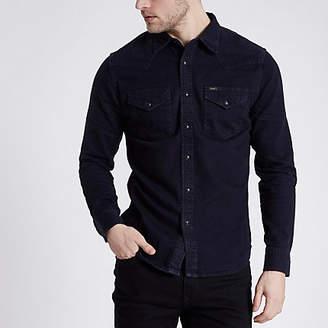 River Island Lee black slim fit denim western shirt