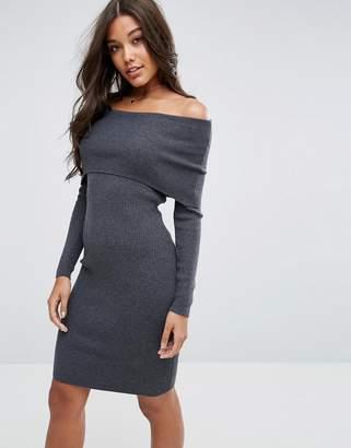 Asos Knitted Midi Dress With Bardot
