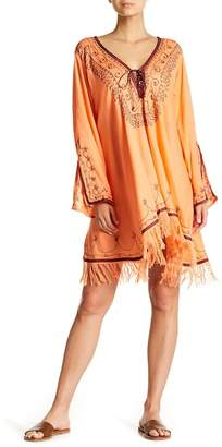 La Moda Lace-Up Embroidered Dress