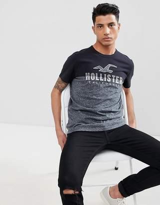 Hollister Color Block Applique Logo T-Shirt in Black/Charcoal Marl