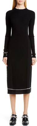 Proenza Schouler Contrast Trim Wool Blend Midi Sweater Dress