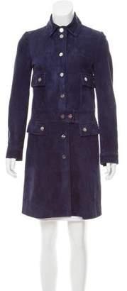 Salvatore Ferragamo Suede Knee-Length Coat
