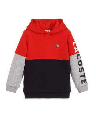 Lacoste Colour Block Logo Sleeve Hoody Colour: RED NAVY, Size: Age 4