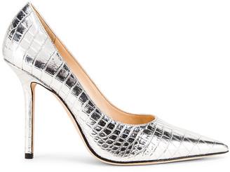 Jimmy Choo Love 100 Metallic Croc Embossed Leather Heel in Silver | FWRD