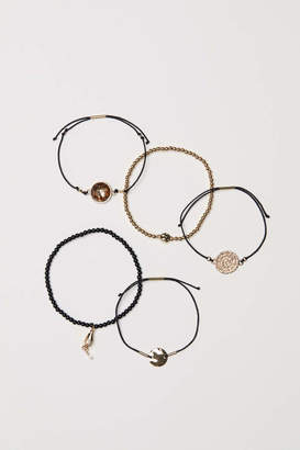 H&M 5-pack Bracelets - Gold-colored/black - Women