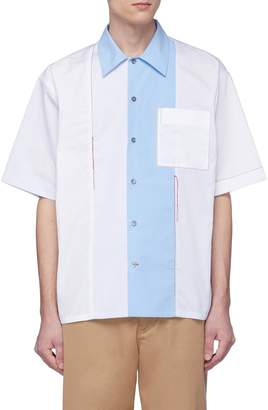 Marni Contrast topstitching colourblock stripe short sleeve shirt