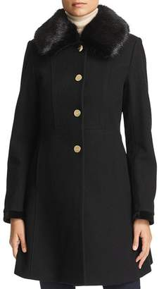 Laundry by Shelli Segal Faux Fur Collar Lace-Up Back Coat