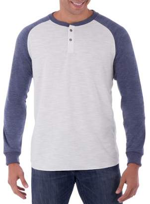 George Men's Long Sleeve Soft Double Knit Henley Raglan T-Shirt, Up to Size 5XL