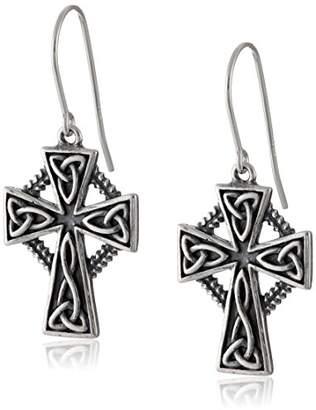 Celtic Sterling Silver Oxidized Triquetra Trinity Knot Cross Dangle Earrings