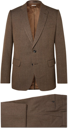 Dries Van Noten Brown Striped Wool And Cotton-Blend Suit