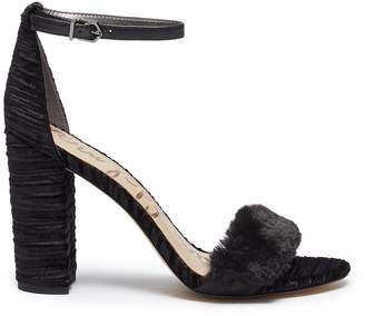 Sam Edelman 'Yaro' velour heel faux fur strap sandals