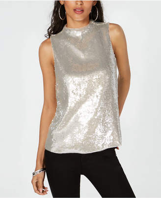 INC International Concepts I.n.c. Sequin Mock-Neck Sleeveless Top