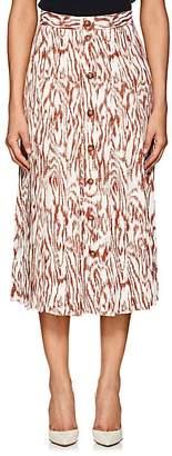 Victoria Beckham Women's Wood-Print Twill Midi-Skirt