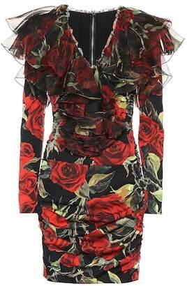 Dolce & Gabbana Rose-printed stretch silk minidress