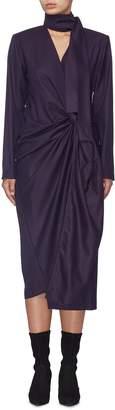 MATÉRIEL Sash tie neck gathered twist front wool wrap dress