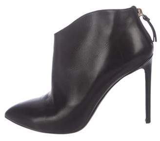 Francesco Russo Leather Pointed-Toe Boots Black Leather Pointed-Toe Boots