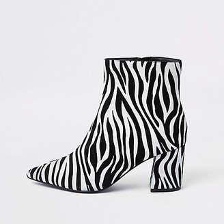 River Island Black zebra print pointed block heel boots