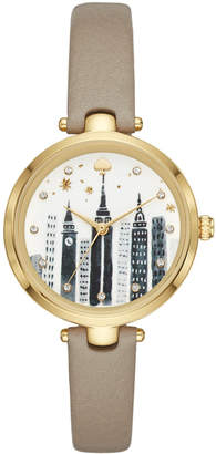 Kate Spade Women Holland Gray Leather Strap Watch 34mm