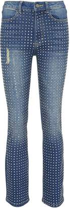Alice + Olivia 'Fabrice' glass crystal skinny bootcut jeans
