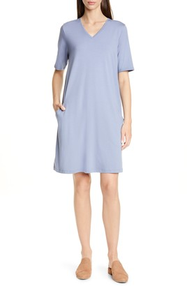 Eileen Fisher Stretch Cotton A-Line Dress