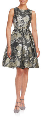 Eliza J Metallic Floral Fit and Flare Dress $289 thestylecure.com