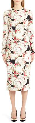 Dolce & Gabbana Plate Print Sheath Dress