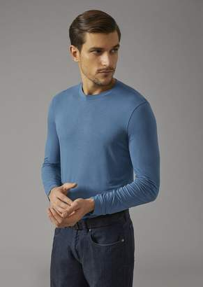 Giorgio Armani Crew Neck Sweater In Single Jersey