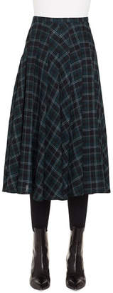 Akris Punto A-Line Brit-Check Midi Skirt