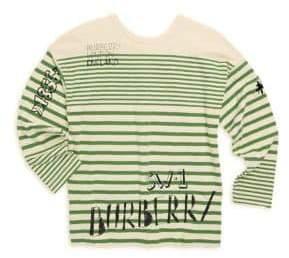 Burberry Little Boy's& Boy's Stripe Cotton Logo Tee