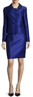 Albert Nipon Beaded-Collar Skirt Suit $395 thestylecure.com