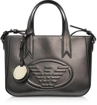 Emporio Armani Dark Gray/Steel Embossed Eagle Small Tote Bag