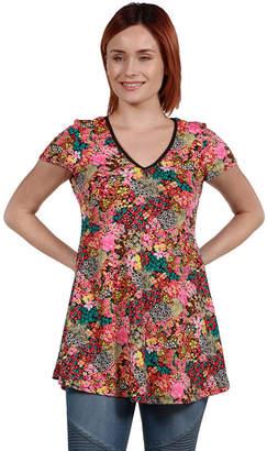 24/7 Comfort Apparel 24Seven Comfort Apparel Coco Pink Multicolor Tunic Top